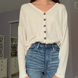 Cream button down sweater